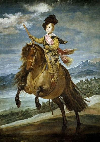 Velazquez, Diego: Prince Baltasar Carlos on Horseback. Fine Art Print/Poster. Sizes: A4/A3/A2/A1 (00592)